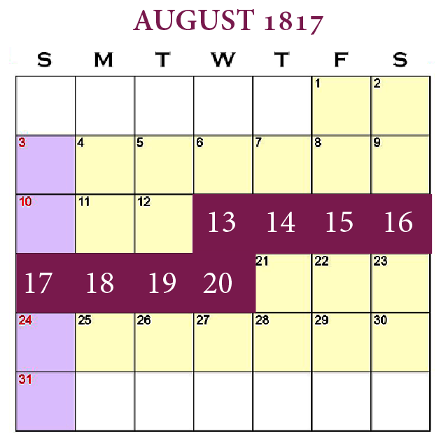 New Beginnings—The Journey, August 13–20, 1817