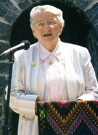 Sr. Elizabeth Vermaelen at the grotto at Mount Saint Vincent